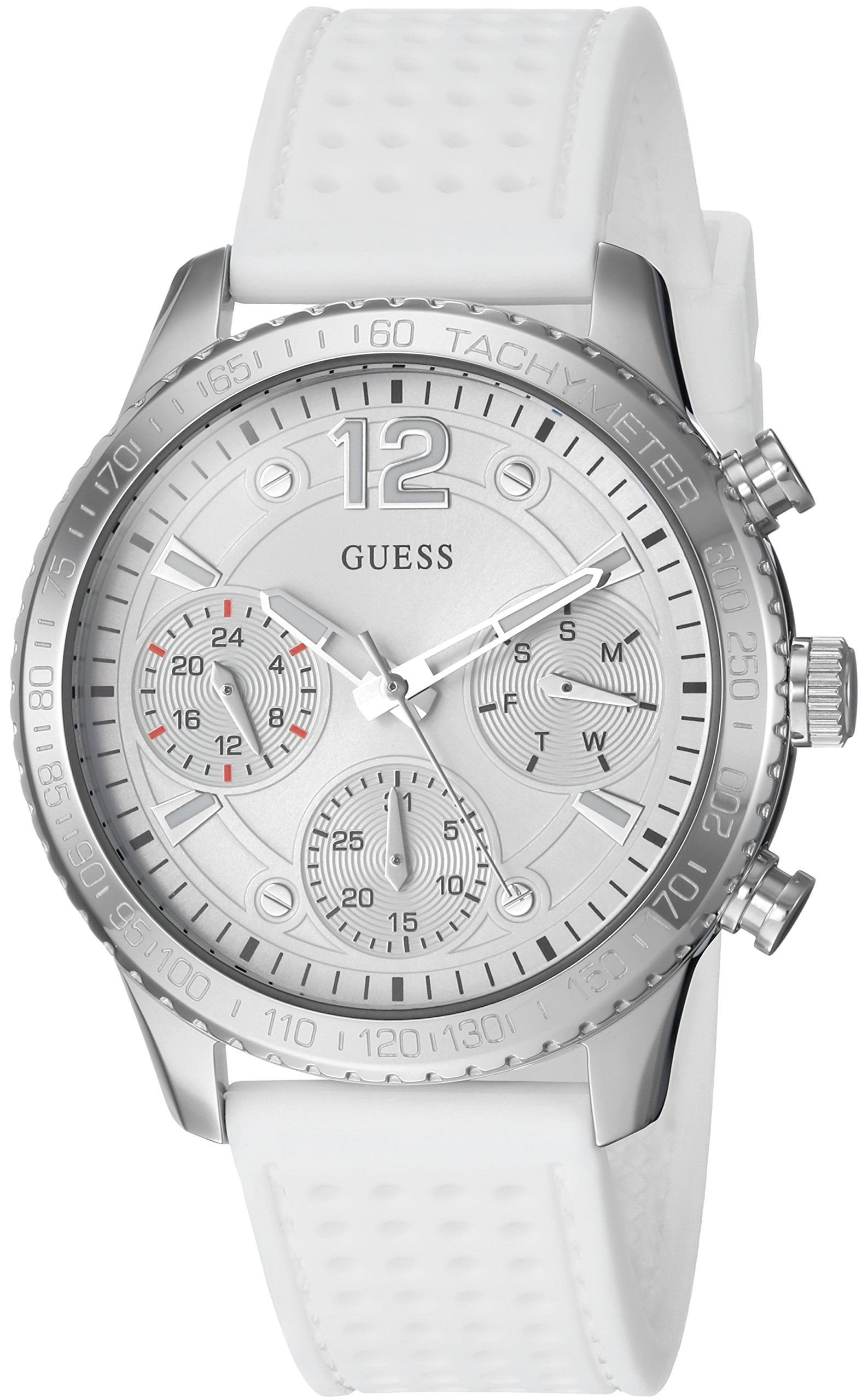 GUESS Women's Stainless Steel Multifunction Silicone Casual Watch, Color: White (Model: U1025L1)
