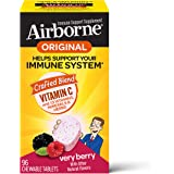 Vitamin C 1000mg (per serving) - Airborne Very Berry Chewable Tablets (96 count in a box), Gluten-Free Immune Support…