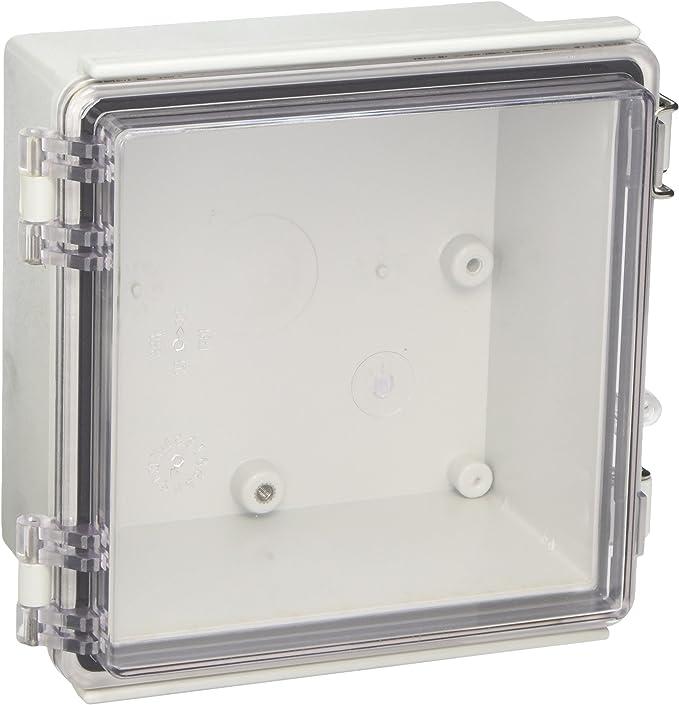 Bud Industries ptq-11046-c PC 10percentfiberglass con bisagra caja, transparente, IP67, Gris: Amazon.es: Bricolaje y herramientas