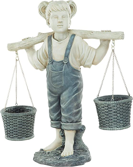 Design Toscano KY47137 Flowers for Felicity Little Girl Garden Statue, Large,two tone stone