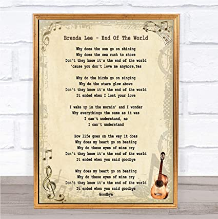 Amazoncom End Of The World Song Lyric Wall Art Quote Print Gift