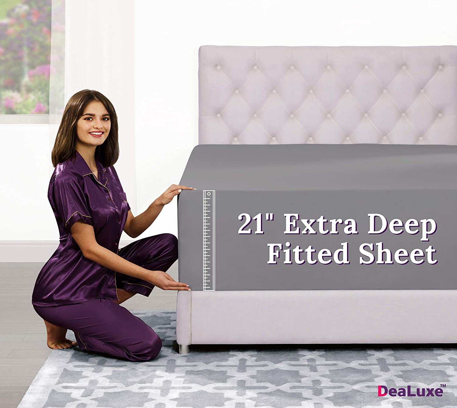 "Twin XL Deep Pocket Fitted Sheet – 17"" - 21"" Inch + Extra Deep Pocket Fitted Sheet Only - 1 Fitted Sheet with Deep Pockets for Pillow Top and Adjustable Mattress - Twin Extra Long Fitted Sheets Grey"