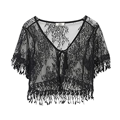 3ee9c917b03 ChicChic Formal Short Sleeves Lace Summer Beach Coverups Kimono Open Cardigan  for Women