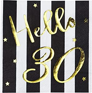 Hello 30 Cocktail Napkins - Happy 30th Birthday Decorations for Men Women | Folded 5x5 Inches Party Napkins | 3-Ply Paper Beverage Napkins, Black and Gold 30th Birthday Napkins, Wedding Anniversary