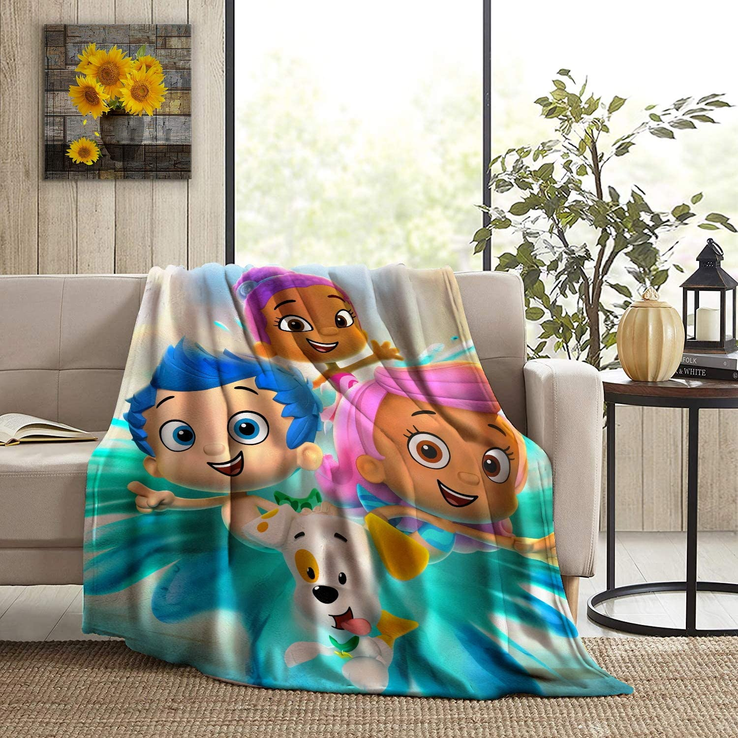 GIPHOJO Soft Micro Fleece Blanket Share and The L-ove Plush Flanne Throws Blanket for Children Kids Boys Girls for Bed Sofa Couch Chair Lightweight for All Season Gifts 50x40