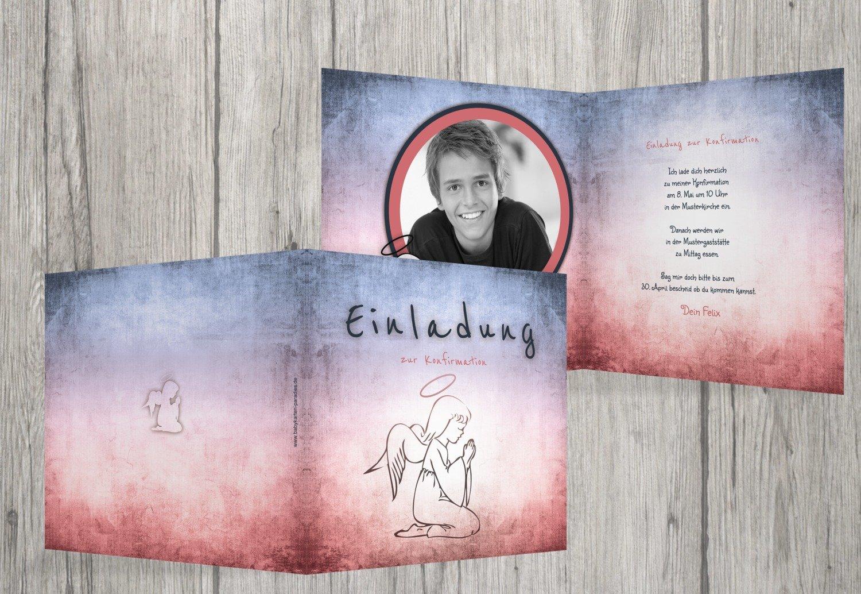 Kartenparadies Einladungskarte Konfirmation grunge grunge grunge Engel, hochwertige Einladung zur Konfirmationsfeier inklusive Umschläge   20 Karten - (Format  145x145 mm) Farbe  Türkisdunkel B01N9XO0BI | Am praktischsten  | Creative  | Bekannt für seine sc 4527a8