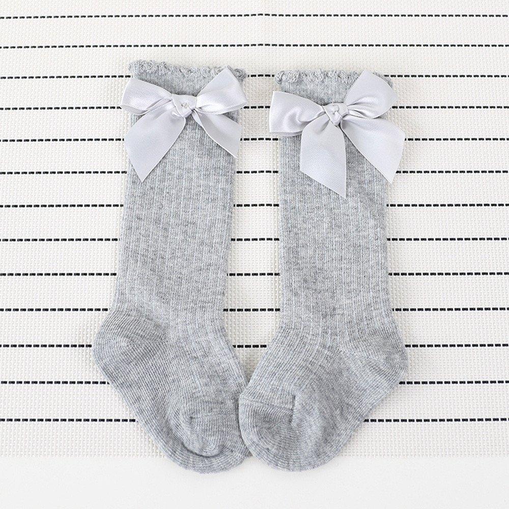 Toddler Infant Baby Girls Sweet Bowknot Socks Cotton Blend Knee High Socks
