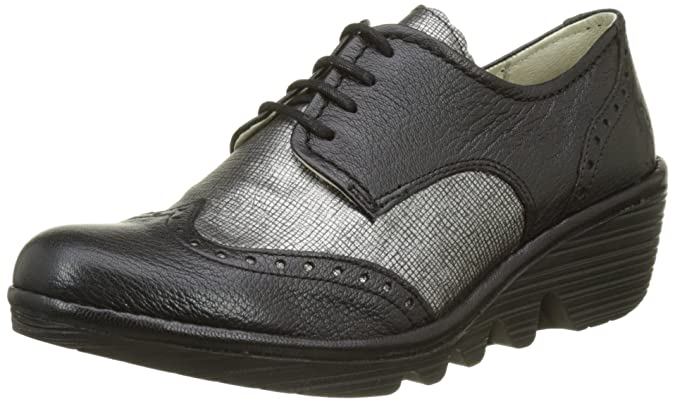 Fly London Palt, Zapatos de Cordones Brogue para Mujer, Negro (Black/Anthracite Silver), 42 EU