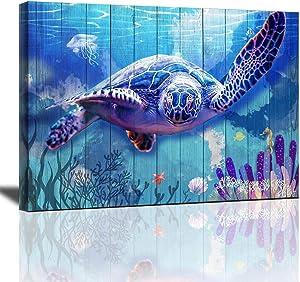 Bathroom Decor Sea Turtle Wall Art Ocean Theme Animal Painting Posters Framed Canvas Art for Home Decor
