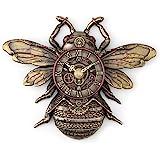 "Veronese Design 10 1/4"" Steampunk Bee Clock Cold Cast Resin Antique Bronze Finish Wall Sculpture Room Decor"