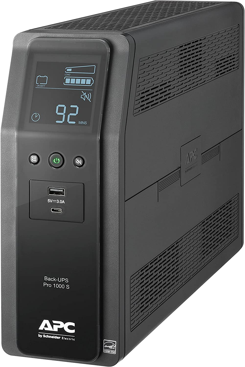 APC UPS BR1000MS, 1000VA Sine Wave UPS Battery Backup & Surge Protector, Backup Battery with AVR and LCD Display, 2 USB Charging Ports, Uninterruptible Power Supply, APC Back-UPS Pro Series
