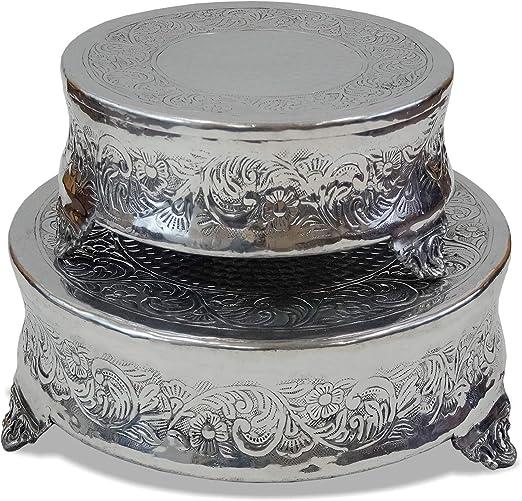 "16/"" Silver Aluminum Cake Stand Antique Base Metal Wedding Cakes Decor"
