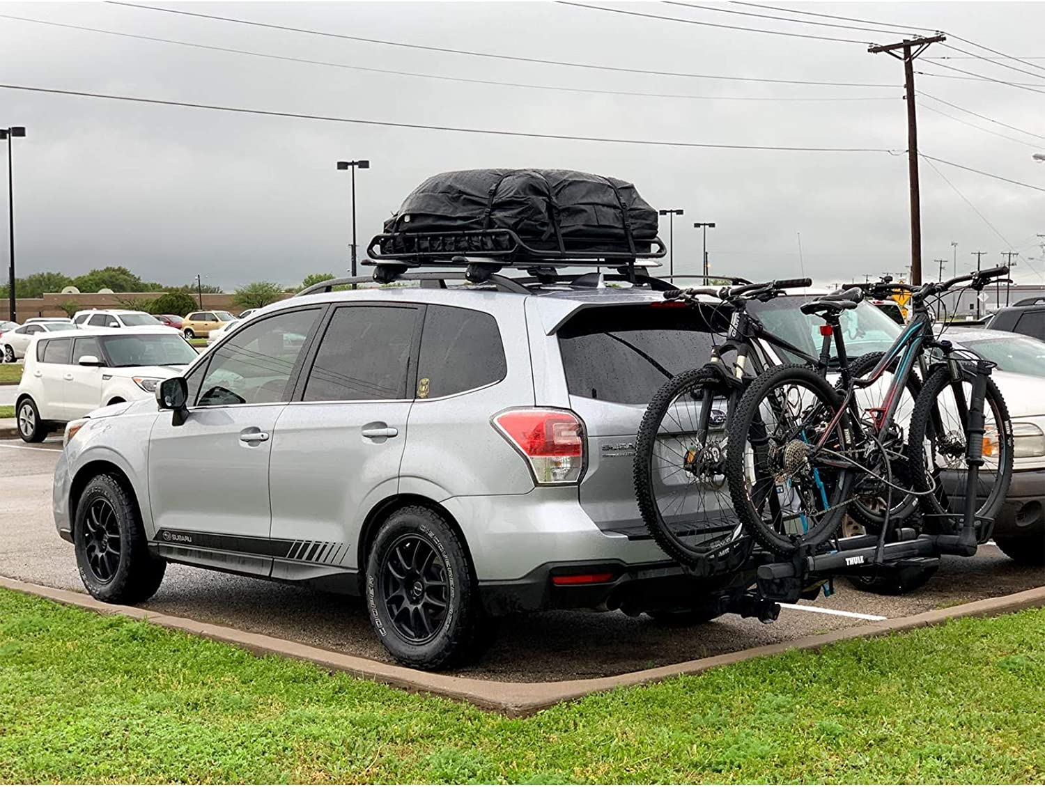 Side Rails//Cross Bars//No Rack LINGVUM Rooftop Cargo Carrier Suitable for All Cars 19 Cubic Feet Soft-Shell Waterproof Roof Top Carrier Roofbag with Tie Down Straps and Protective Mat
