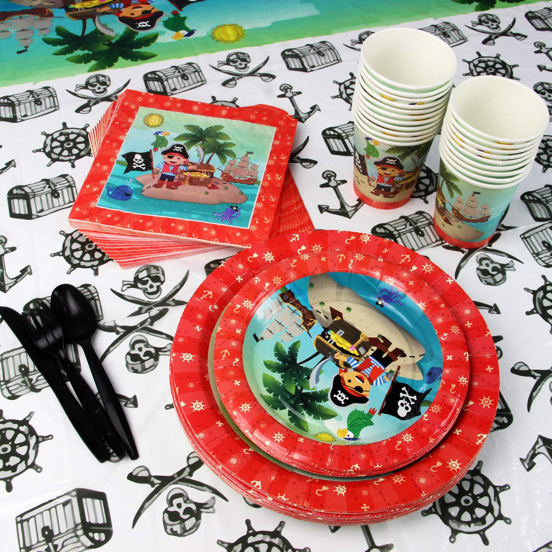 Cubiertos Vasos Mantel Platos Servilletas 20 Personas Kompanion Set de 142 Piezas Plato de Pirata para Fiestas Incluye Pancarta Cucharas Tenedores y Cuchilos