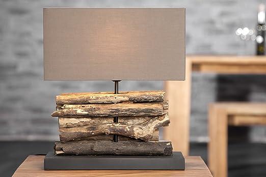 Tischleuchte 40cm kunstvoll aus natürlichem treibholz leinen braun