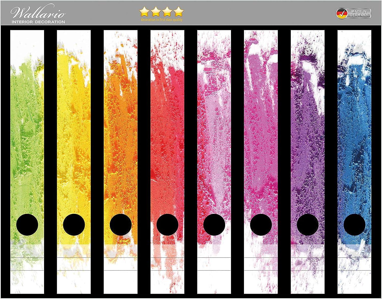 Wallario Ordnerr/ücken Sticker Regenbogenstreifen auf wei/ßem Hintergrund Bunter Anstrich in Premiumqualit/ät passend f/ür 12 schmale Ordnerr/ücken Gr/ö/ße 12 x 3,5 x 30 cm