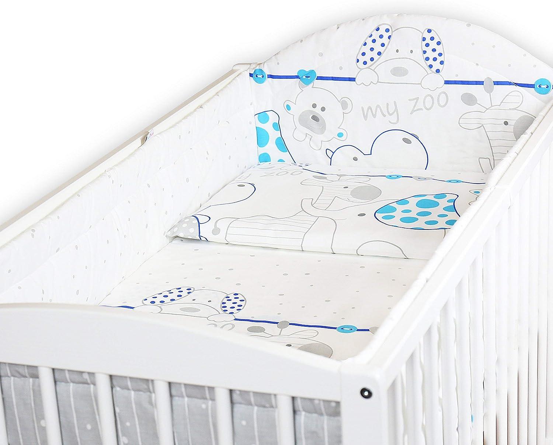 Baby Bedding Set Allround Bumper Pillow Duvet Cover for COT 120x60CM Set 5 PC Pink
