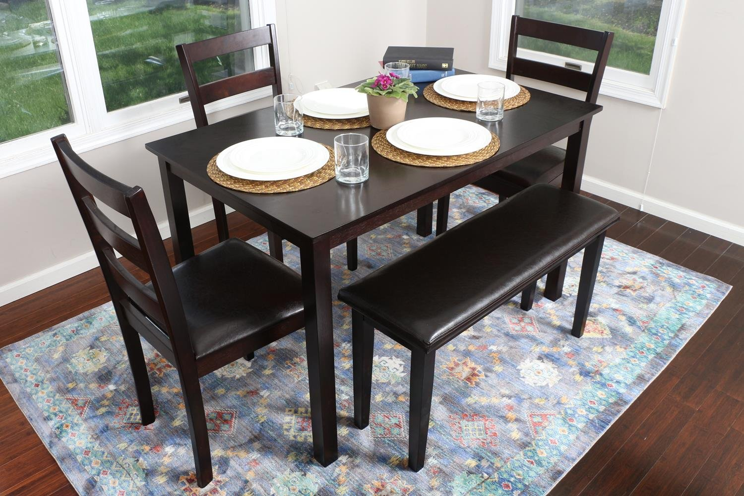 Life Home 4 Person 5 Piece Kitchen Dining Table Set 1 Table 3 Leather Chairs 1 Bench Espresso Brown J150232espresso