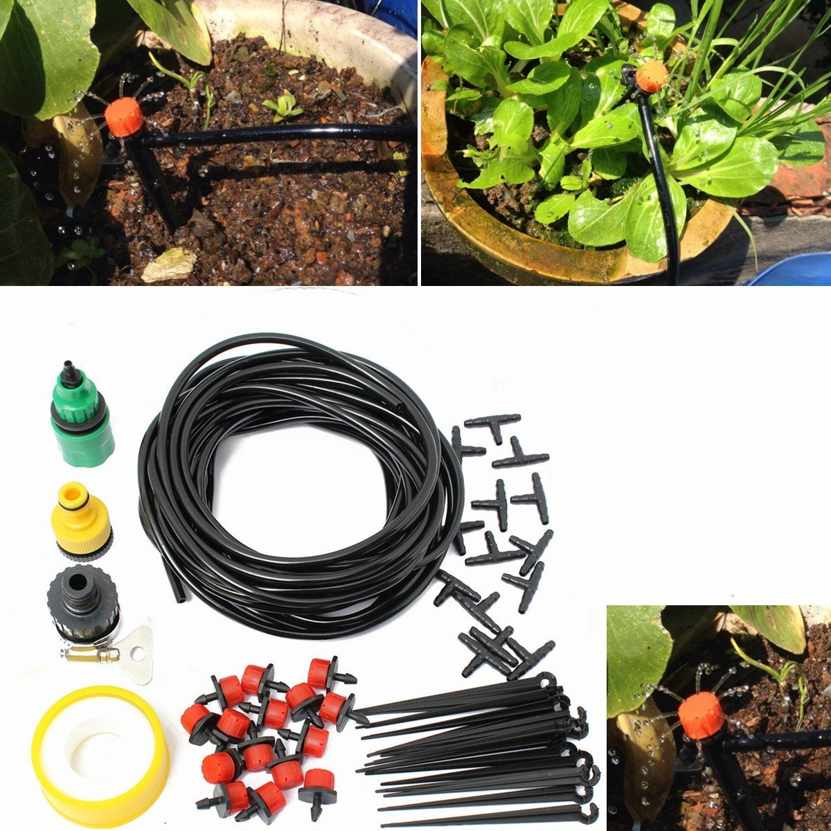 Agile-shop Distribution Drip Irrigation System Kits for Garden Greenhouse Landscaping Plant Watering Drippers Sets Accessories + 10M Hose