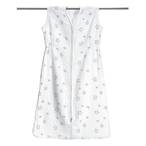 Saco de dormir de – Estrellas Gris de algodón 100% muselina, tamaño 90 cm