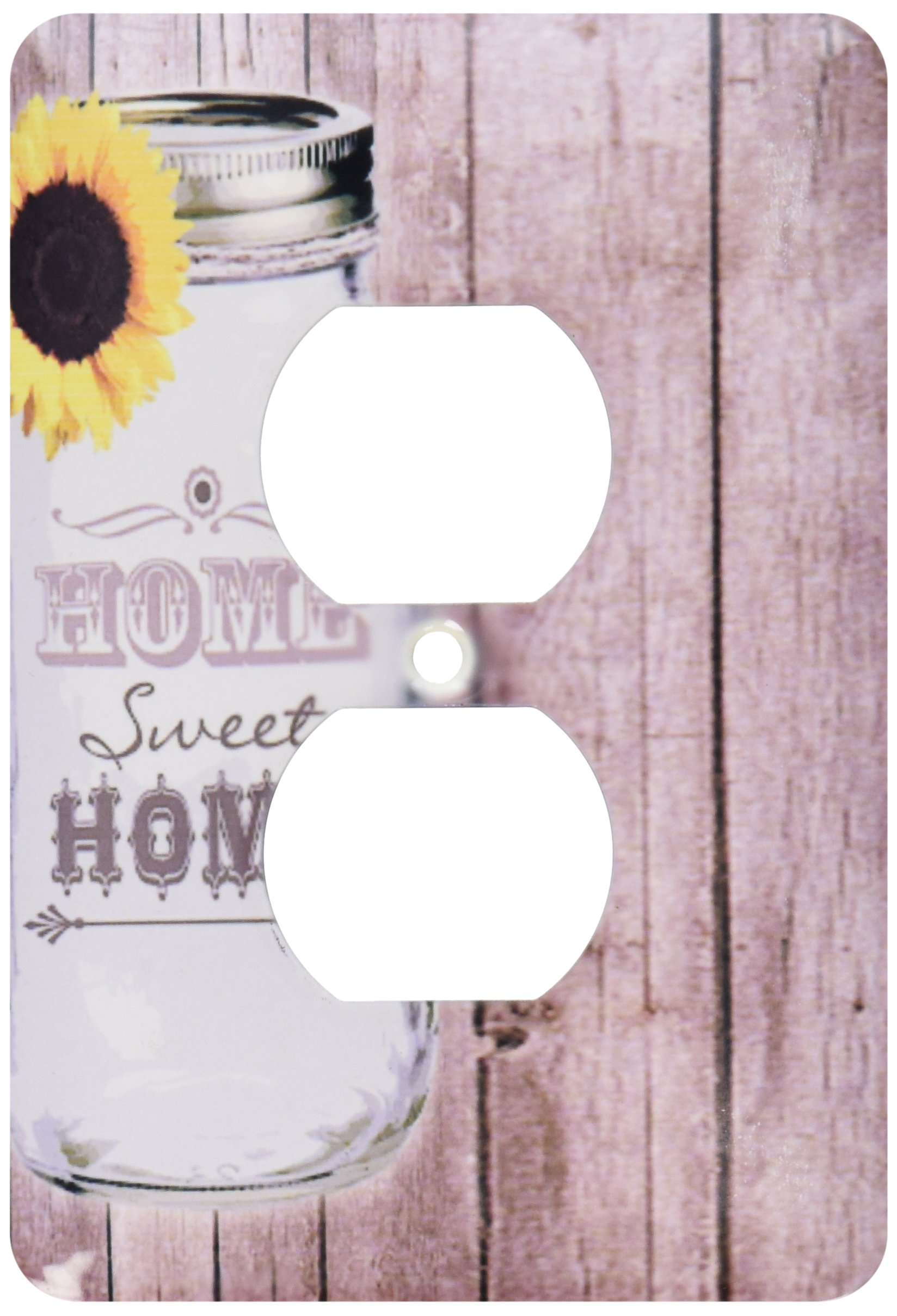 3dRose  lsp_128555_6 Country Rustic Mason Jar with Sunflower Home Sweet Home 2 Plug Outlet Cover