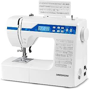 MEDION MD 15694 - Máquina de coser digital, 30 W, ojal en 1 paso, 100 tipos de puntada, 100 puntadas alfabéticas ...