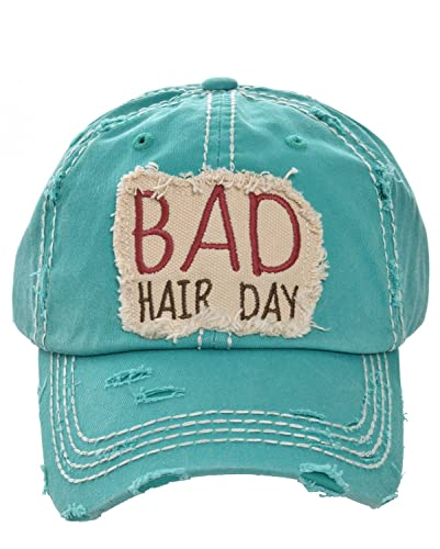 Image Unavailable. Image not available for. Color  HBS001 Bad Hair Day Blue  Green Washed Cotton Vintage Baseball Cap. acc8cda1bb4