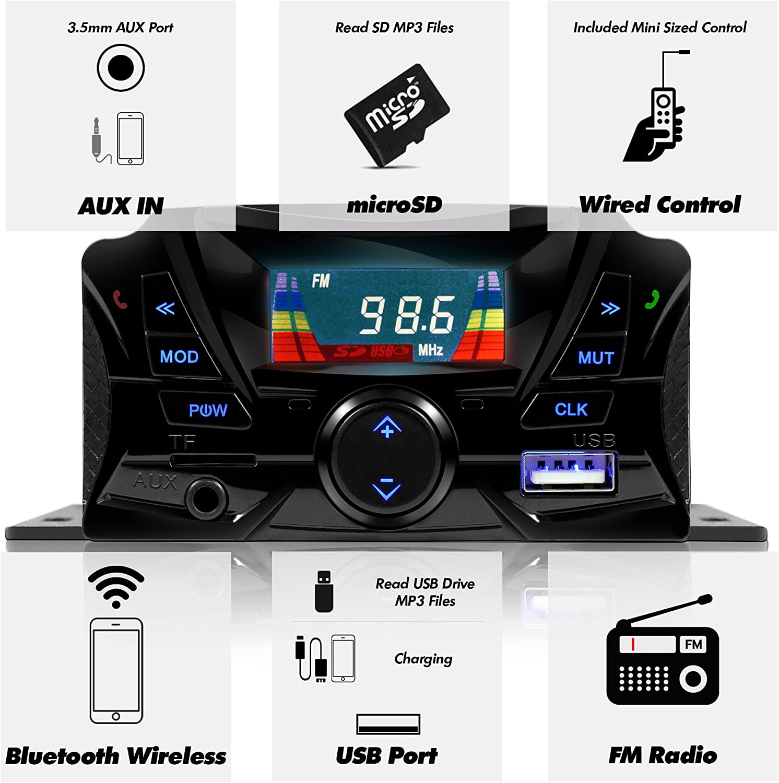 FM Radio USB Micro SD 2-Speaker Handlebar Mount MP3 Music Player Sound Audio Stereo Amplifier System ATV UTV w//AUX in GoHawk TS3 Gen.2 Motorcycle Weatherproof Bluetooth Speakers 7//8-1 in