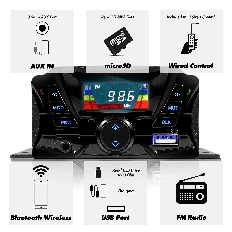 USB FM Radio Micro SD TS3 Black GoHawk TS3 Gen.2 Motorcycle 3 Waterproof Bluetooth Speaker 7//8-1 in Handlebar Mount MP3 Music Player Audio Stereo Amplifier System ATV UTV w//AUX in