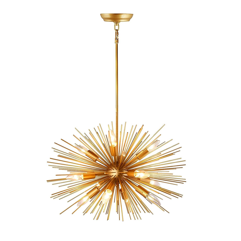 24 inch wide inch astra sputnik satellite pendant light gold spike chandelier starburst lamp 12 light rod