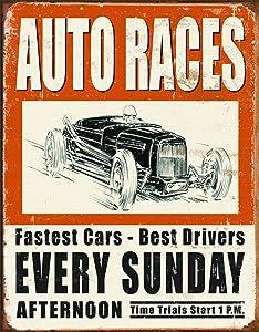 """Desperate Enterprises Vintage Auto Races Tin Sign, 12.5"""" W x 16"""" H"""