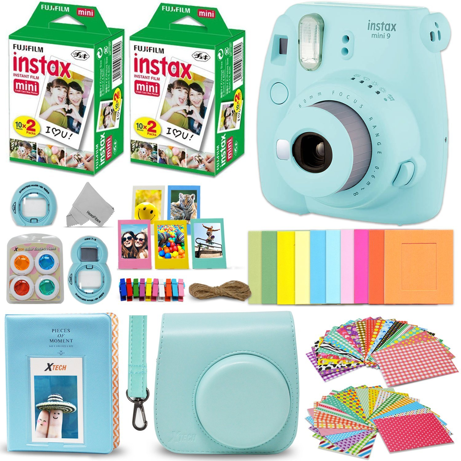 Fujifilm Instax Mini 9 Instant Camera ICE BLUE + Fuji INSTAX Film (40 Sheets) + Accessories Kit Bundle + Custom Case with Strap + Assorted Frames + Photo Album + 60 Colorful Sticker Frames + MORE by HeroFiber