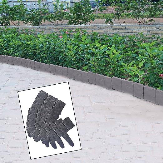 Ushodor Bordes Decorativos para Jardín, Diseño de Flores, para paisajismo, Piedras sintéticas, Paredes de Jardín Resistentes a la Intemperie, 10 Unidades: Amazon.es: Jardín