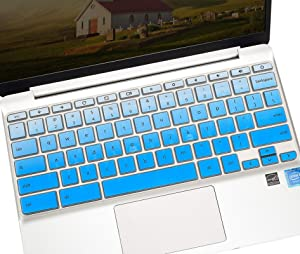 """Keyboard Skin Cover Compatible with 11.6"""" HP Chromebook x360 /HP Chromebook 11 G2, G3, G4, G5, G6 EE/HP 14"""" Touchscreen Chromebook 14-ca 14-ak 14-db/HP Chromebook 14 G2 G3 G4 G5(Gradual Blue)"""