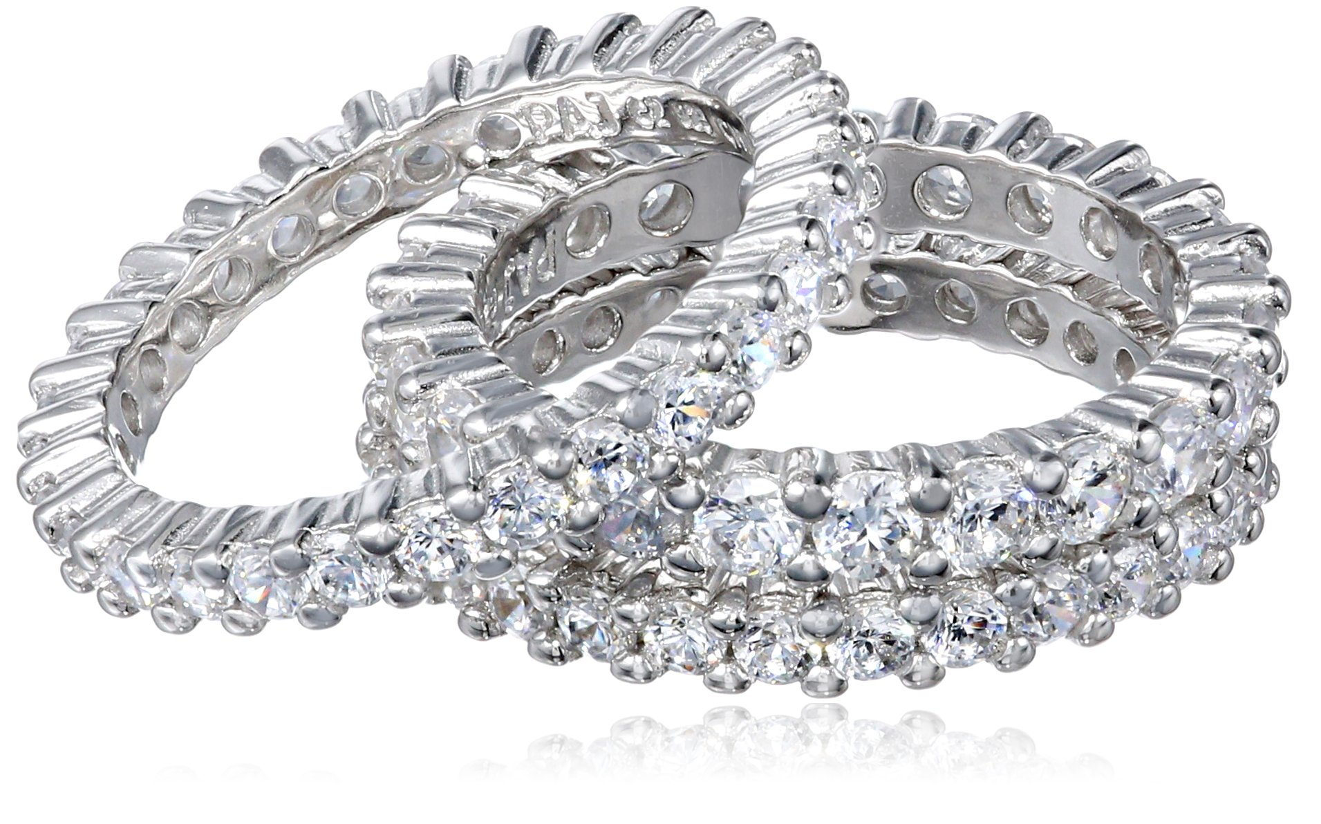 Sterling Silver Cubic Zirconia Eternity Band Stacking Rings (Set of 3), Size 6.5