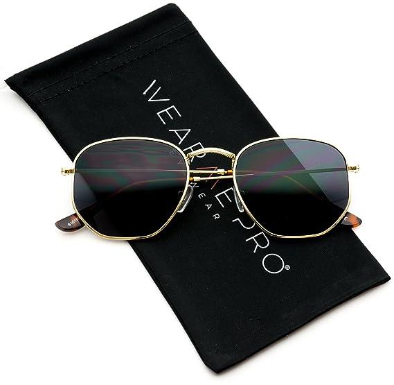 a840155ec1 Amazon.com  WearMe Pro - Geometric Hexagonal Round Gold Frame Retro  Sunglasses  Clothing