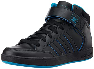 adidas Originals Men's Varial Mid Black and Blue Leather Skateboarding Shoes  ...
