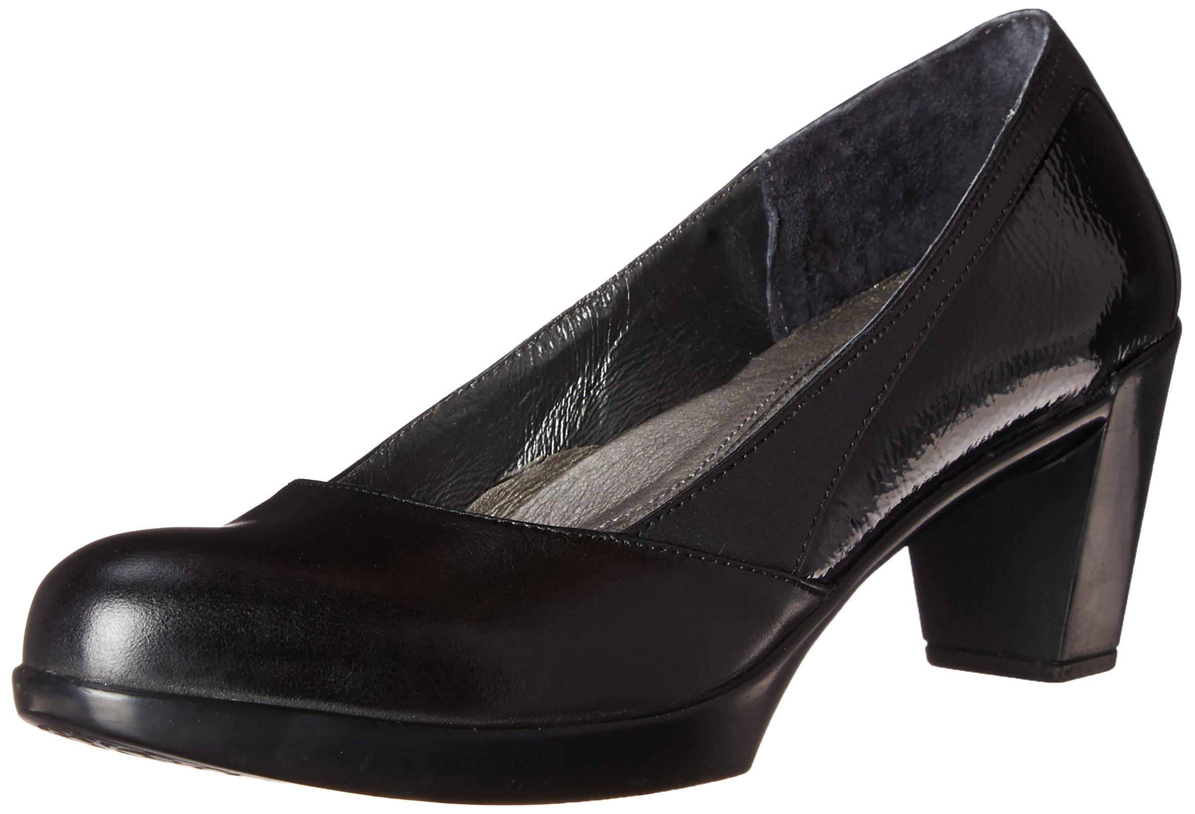 Naot Women's Diamanti Dress Pump, Black Madras Leather/Black Raven Leather/Black Crinkle Patent Leather, 37 EU/6-6.5 M US by NAOT