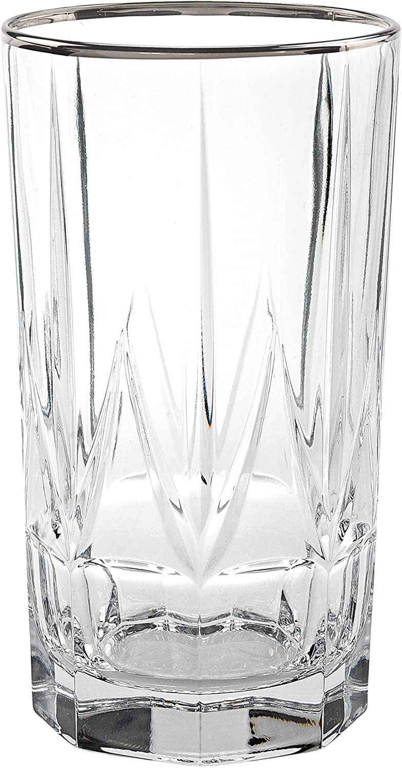 Lorren Home Trends Chic Set of 6 High Ball Tumblers with Platinum Trim, One Size, Clear