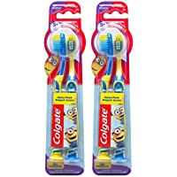 Colgate Kids Toothbrush with Extra Soft Bristles and Suction Cup Holder, Minions...