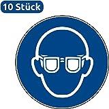 10 Aufkleber Augenschutz benutzen - Augenschutz Aufkleber Schutzbrille (10 Stück) vorgestanzt für Innen & Außen mit UV-Lack, witterungsbeständig, selbstklebend, Augenschutz Schild Schutzbrille überkleben, Augenschutz benutzen Gebotszeichen Warnzeichen Augenschutz benutzen Ohrenschutz-Aufkleber von Aufklebo M004 Schutzbrille Aufkleber Brille Arbeitsschutz