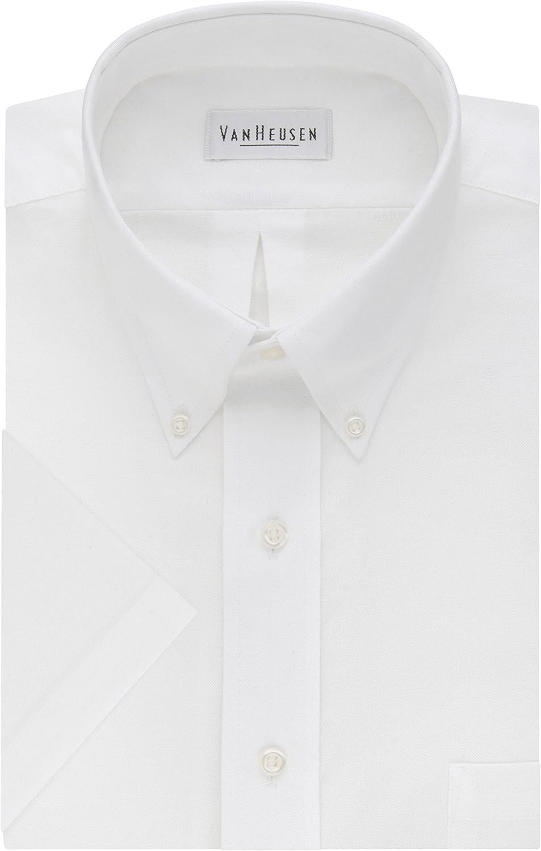 Van Heusen Men's Dress Shirts Short Sleeve Oxford Solid