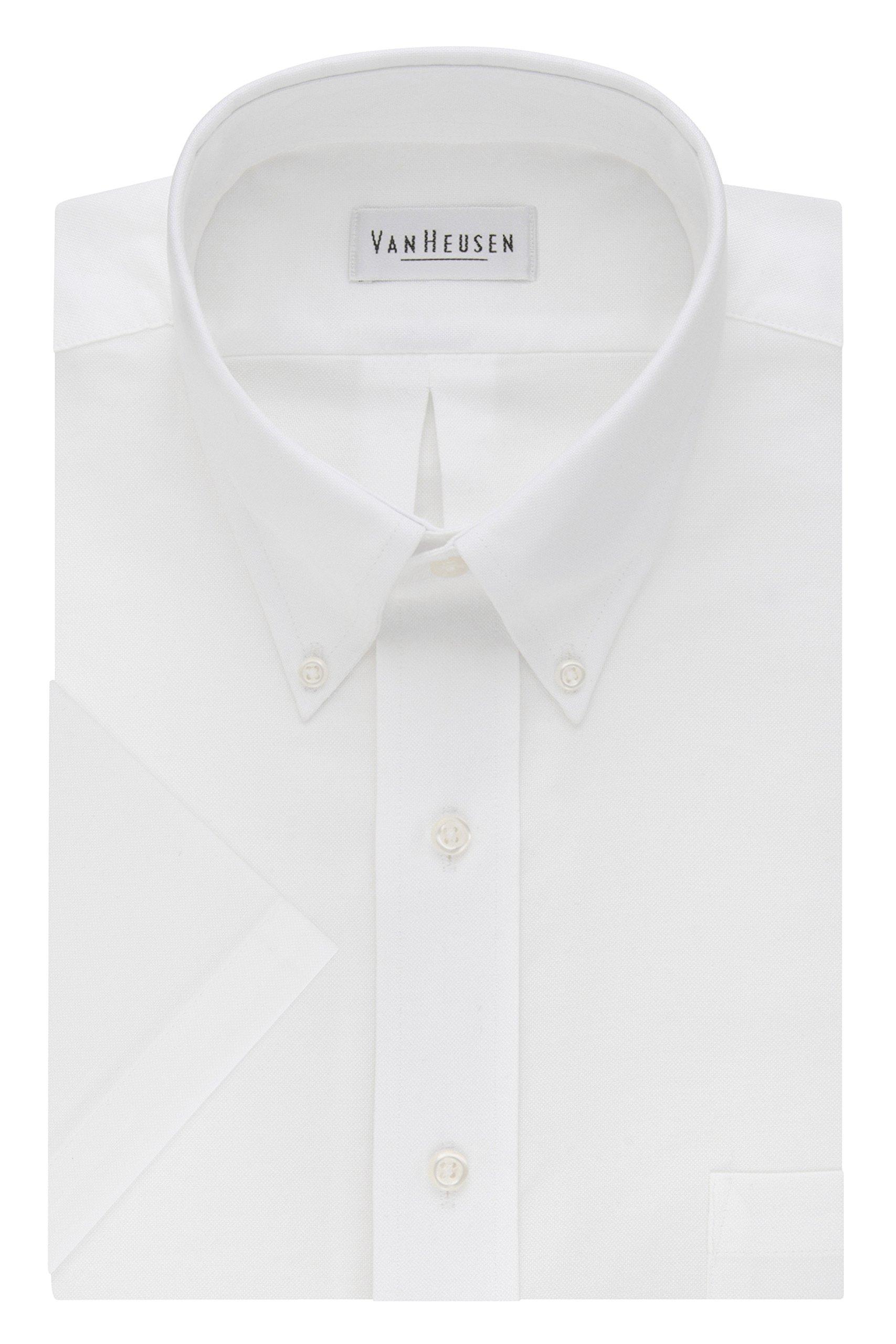 Van Heusen Men's Short Sleeve Oxford Dress Shirt, White, Large