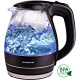 Ovente 1.5L BPA-Free Glass Electric Kettle, Fast Heating with Auto Shut-Off and Boil-Dry Protection, Cordless, LED Light Indicator, Black (KG83B)