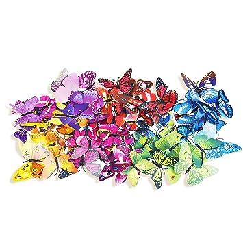 24 Stk Wandtattoo Schmetterling 3D Wandbilder Wandsticker Dekoration für  Kinderzimmer Schlafzimmer Wohnzimmer (Farbig wie Bilder)