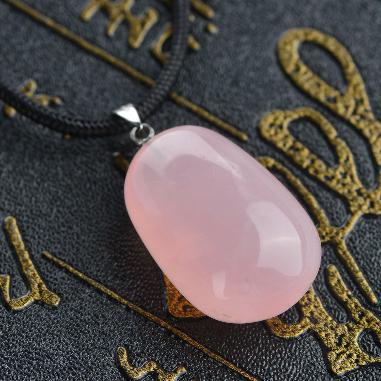 1pcs Beautiful Rose Quartz Teardrop Pendant Bead 42*24*12mm H-ZSSD1