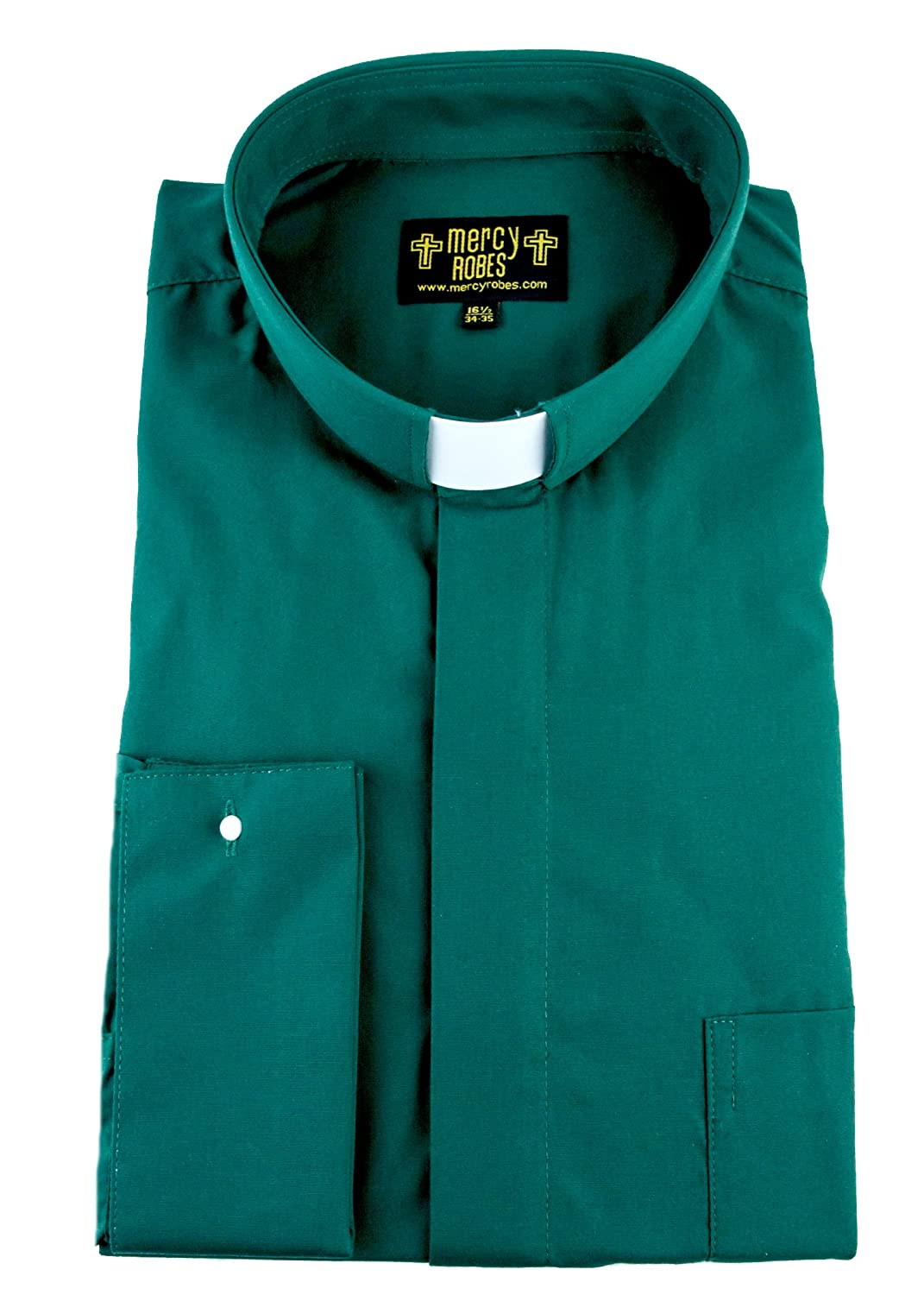 Mercy Robes Mens Green Long Sleeve French Cuff Tab Collar Clergy