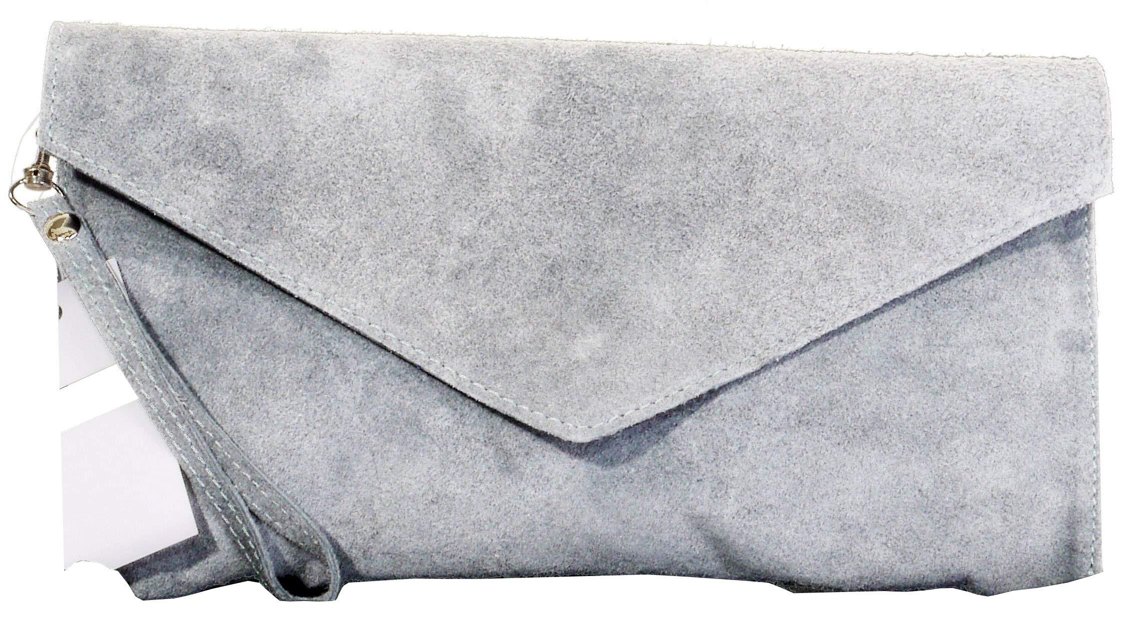 Italian Suede Leather Hand Made Light Grey Envelope Design Clutch, Wrist, Shoulder or Crossbody Bag. Includes a Branded Protective Storage Bag