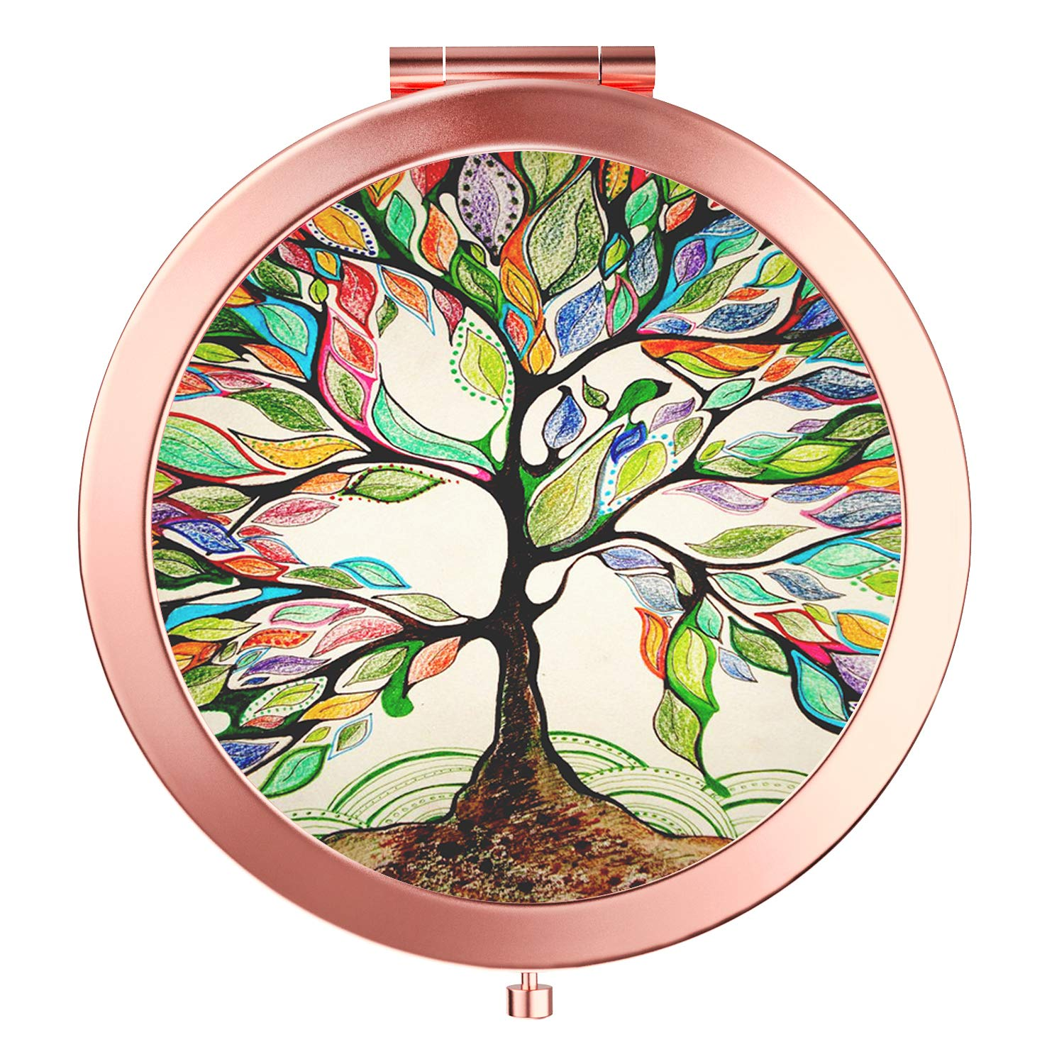 HeaLife Life Tree Makeup Mirror New Version Rose Gold Travel Purse Mirror Compact Double Sides 2x 1x Magnification Hand Mirror Metal Round Bohemian Mirror for Women and Girls