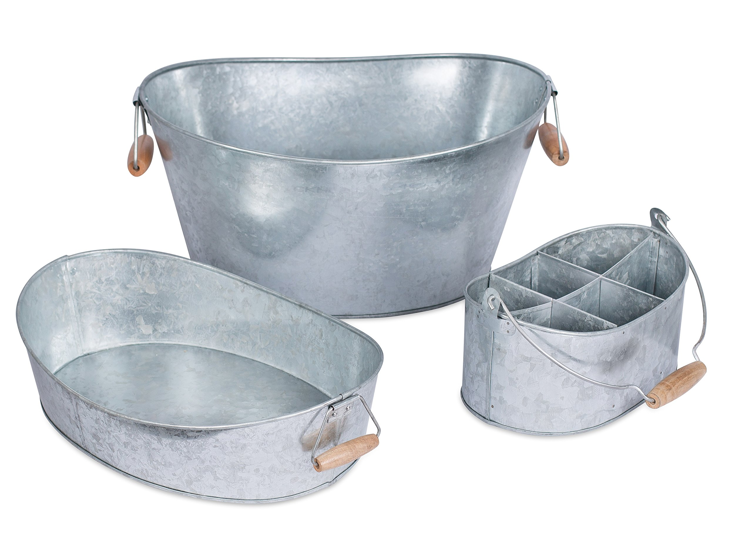 BirdRock Home Galvanized Beverage Tub, Caddy and Tray Set | 3 Piece | Party Tray Platter Drink Holder | Silverware Caddy | Wooden Handles